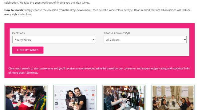 Peoples Choice wine awards Find my Wines search facility